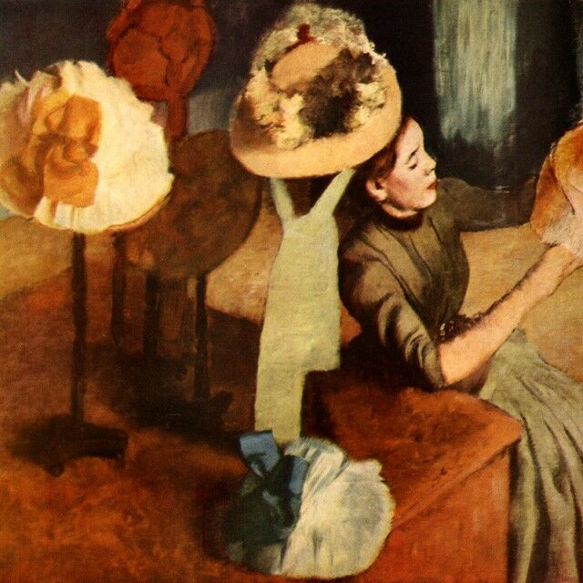THE MILLINERY SHOP TABLE WITH HATS FASHION MODISTE 1885 BY EDGAR DEGAS REPRO