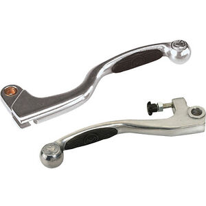 Tusk Brake and Clutch Lever Set Grip Gripper Silver Pair NEW 1182350004