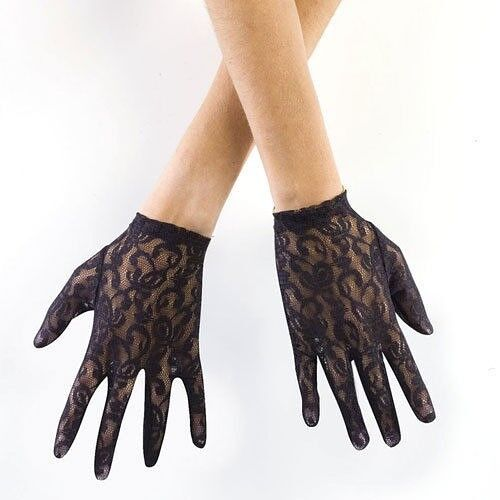 Black Lace Gloves with Fingers New by Fun World 8147