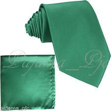 Emerald Green Men SelfTie Neck tie & Pocket Square Hankie Set Party Wedding 10JJ