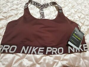 XL Nike pro Womens Indy Light Support bra crop top red Burgundy AQ0150 233
