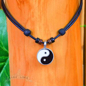 Lederkette-Yin-Yang-Halskette-Surferkette-Halsband-Buddha-Budda-Yoga-Chi-Energie