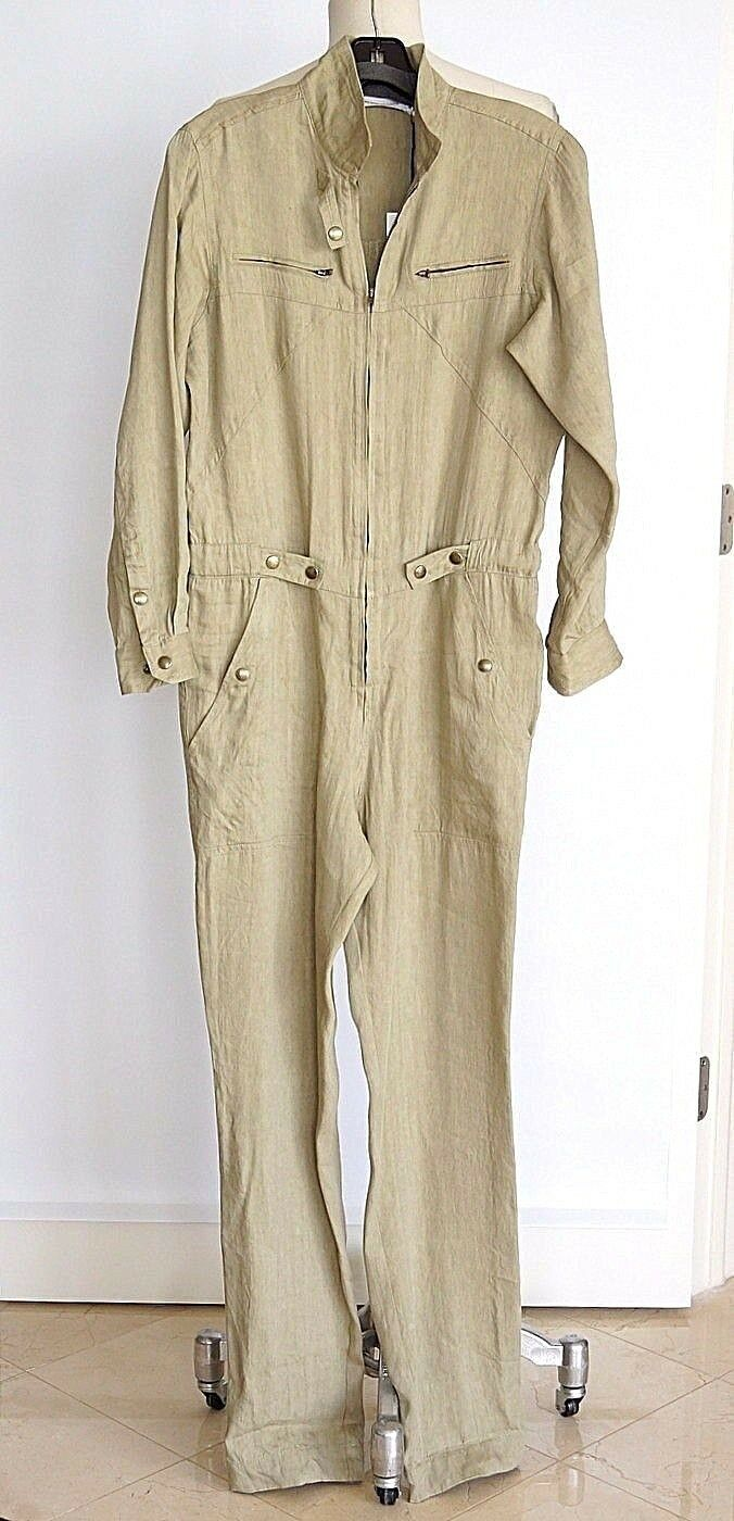 Isabel Morant Etoile Jumpsuit Khaki Linen 38   fits 4 to 6 new