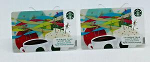 Starbucks Coffee 2013 Gift Card Celebration Mug Cups Color Zero Balance Set of 2