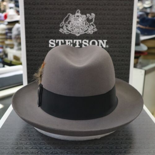 STETSON TEMPLE CARIBOU  FUR FELT FEDORA DRESS HAT