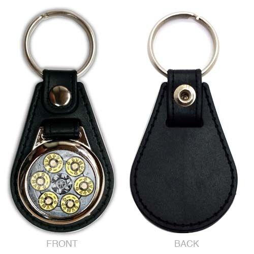 Magnum 44 Rev P22 Black PU Leather Logo Chrome Metal Accent Keychain Ring Fob