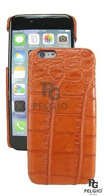 PELGIO Genuine Crocodile Belly Skin Leather iPhone 7 Hard Case Back Cover Brown