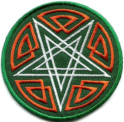 Pentagram pentacle satanic occult goth wicca witch applique iron-on patch S-1059