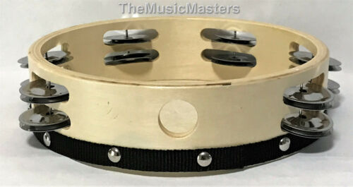"""8/"""" inch Wood TAMBOURINE Double Jingle Row Band Percussion Musical Instrument"""