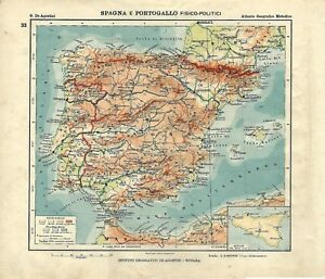 Cartina Geografica Spagna E Isole.Carta Geografica Antica Spagna Portogallo Ante Grande Guerra 1914 Antique Map Ebay