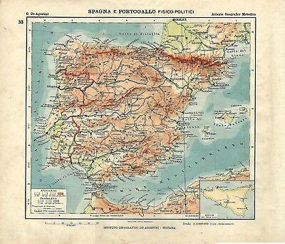 Cartina Spagna Antica.Carta Geografica Antica Spagna Portogallo Ante Grande Guerra 1914 Antique Map Ebay