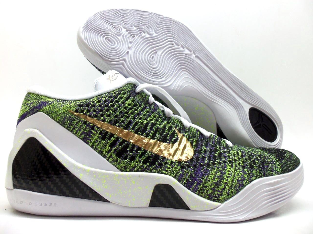 Nike kobe ix 9 elite flyknit id basso multi-color-gold dimensioni uomini [677992-998]