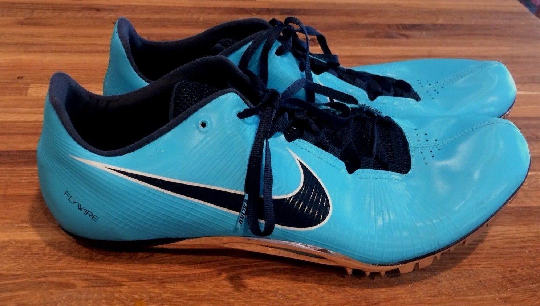 Nike Sprint sz 14 spikes flywire turquoise bluee. UK 13 EUR 48.5 cm 32