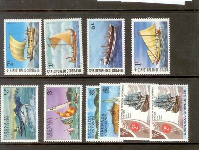 *a258 Maldives Boats Fish Ships (mix) Mnh Zacht En Antislippery