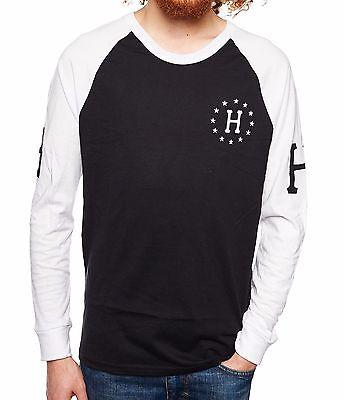 Huf AUDIBLE White Black screenprint Long Sleeve Raglan Men/'s T-Shirt