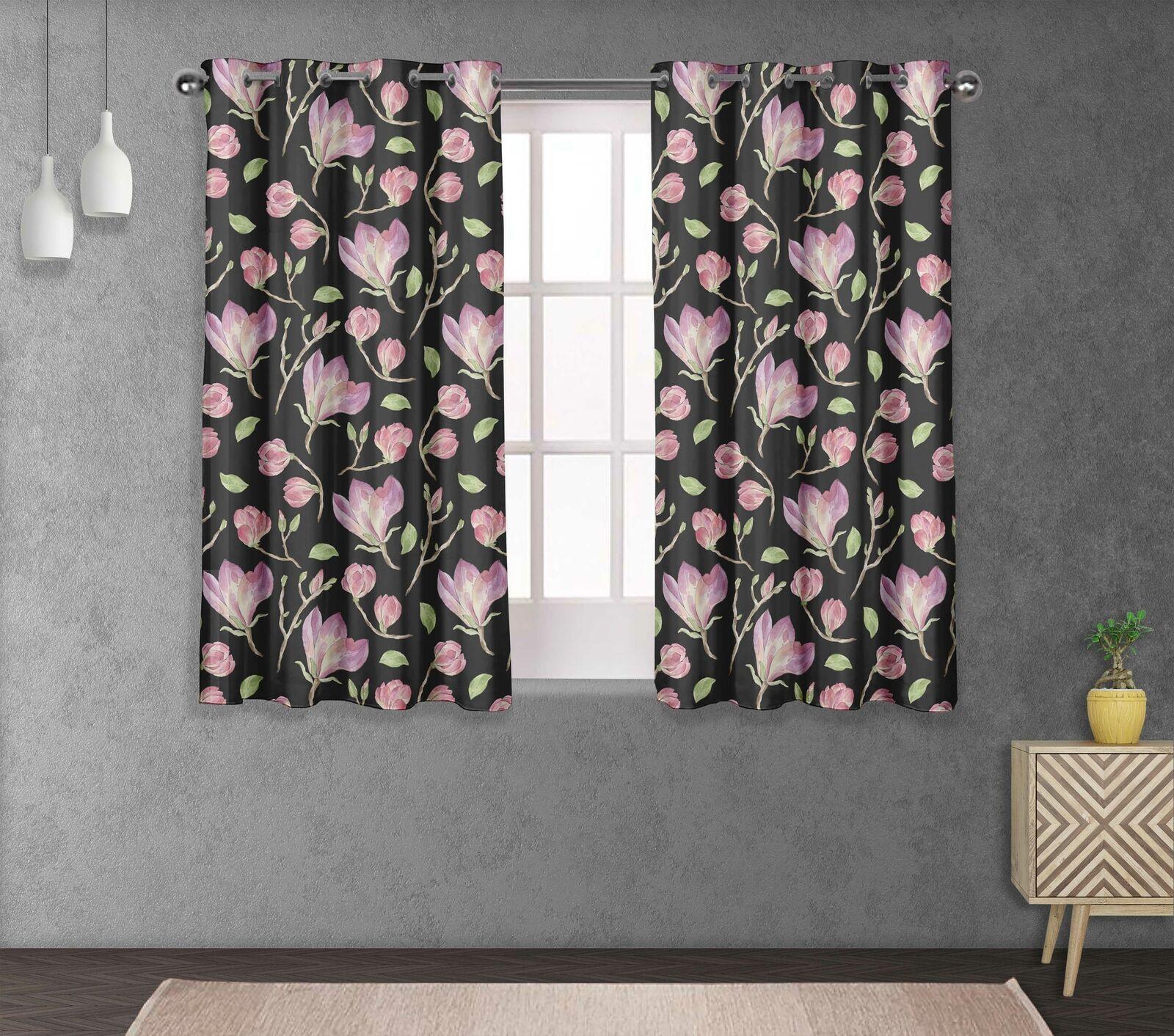 S 4 Sassy Hojas & Magnolia Cama divisores de habitación Panel de cortina corta y larga-FL-855D