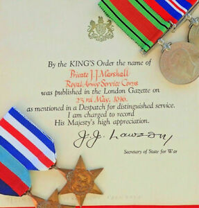 WW2-BRITISH-ROYAL-ARMY-SERVICE-CORPS-GROUP-OF-4-MEDALS-amp-MID-CERTIFICATE