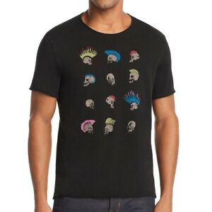 John-Varvatos-Men-039-s-Short-Sleeve-Rows-of-Skull-Hawks-Graphic-Crew-T-Shirt-Black