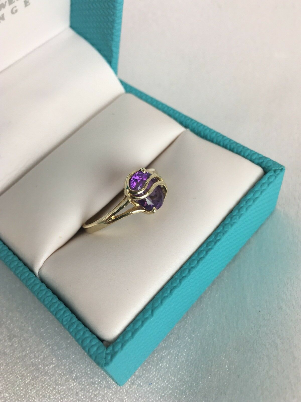 10 K Yellow gold  And Amethyst Ring Size 6 1 4