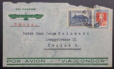 Argentina Airmail via Condor Cover: c 1930s, 》 Lenggstrasse, Zurich, Switzerland