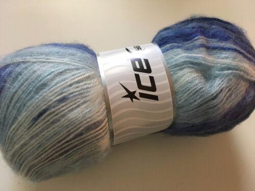 100 gram Angora Active Sailing #58017 Blues White Sport Yarn Striping 546Yd 1