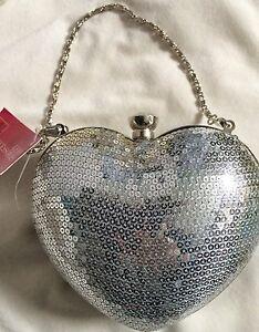 d'honneur Sequin Silver soirée Mariage Bnwt Prom Purse Sac Fête Heart Purse de demoiselle v4Hff5wqW