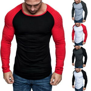 Mens-Spring-Pullover-T-shirt-Crew-Neck-Tops-Pleated-Long-Sleeve-Casual-Slim-Tee