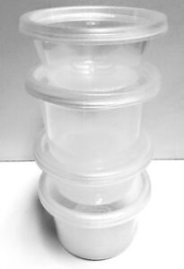 SATCO 2 OZ PLASTIC ROUND CONTAINERS WITH LIDS RESTAURANTS CATERING FOOD STORAGE