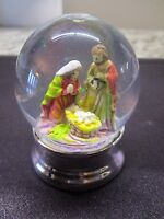 Nativity Glass Snow Globe With Silver Base-2.5h-new