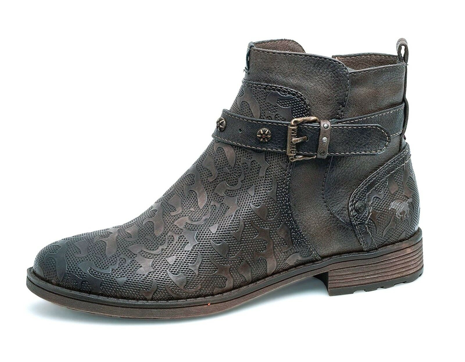 Mustang NEW 1265-515 marron texturouge western style low heel ankle bottes Taille 4-8