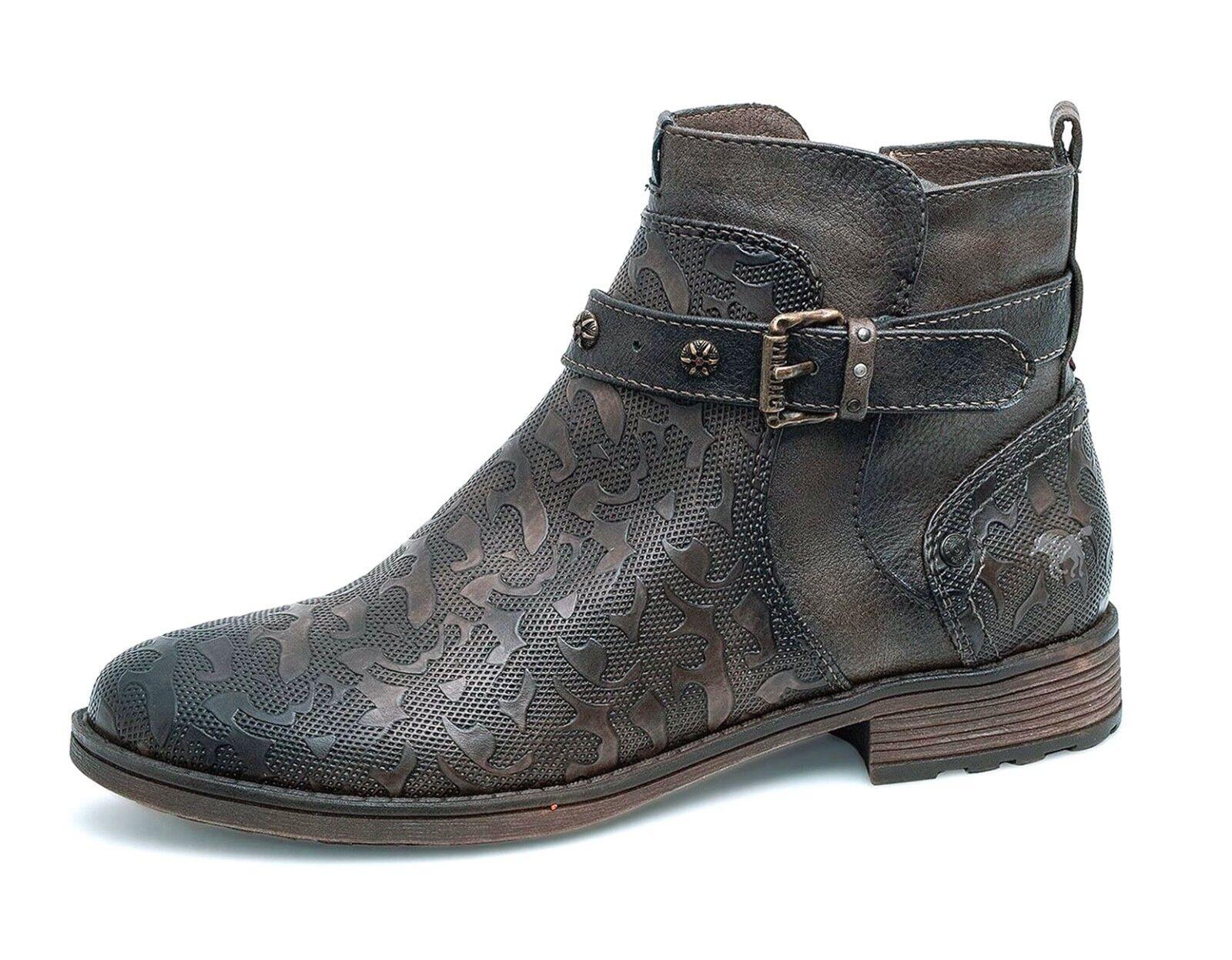 Mustang NEW 1265-515 braun texturot western style low heel ankle Stiefel Größe 4-8
