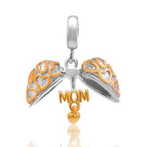 Gold-Mom-Heart-Sterling-Silver-925-Charm-Bead-fits-European-Bracelet-Bangle