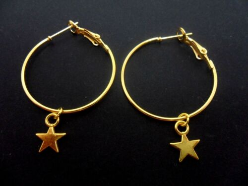 "NEW. A PAIR OF SIMPLE GOLD COLOUR 30 MM 1/"" HOOP /& STAR  EARRINGS"