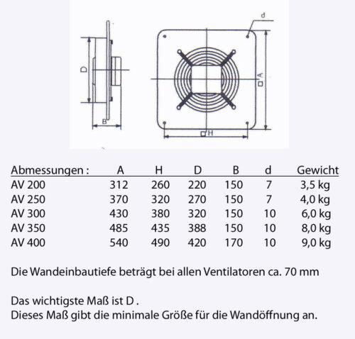 Industrie Ventilator Gebläse Lüfter für Zuluft Abluft Wand Fenster Extra Stark