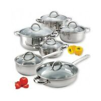 Cookware Set 12 Piece Stainless Steel Electric Gas Glass Ceramic Hobs Capsuled