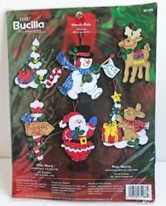 2005-Bucilla-NORTH-POLE-Felt-Holiday-Ornaments-Kit-Set-of-6-Christmas-85188-New