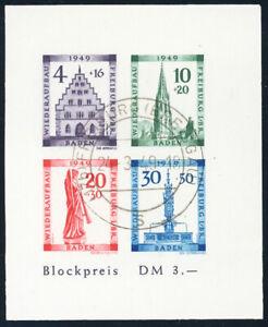FZ-BADEN-MiNr-Block-1-B-sauber-gestempelt-Befund-Straub-Mi-280