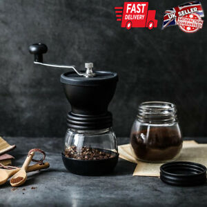 Ceramic Burr Mini Hand Coffee Grinder Kitchen Manual Bean Stainless Steel UK