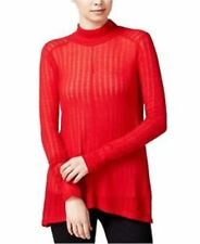 Lucky BRAND Womens High Low Knit Turtleneck Ribbed Sweater Top Red XL A002