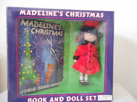 Madeline Christmas Book & Doll Red Coat Hat Shoes Original Face In Box