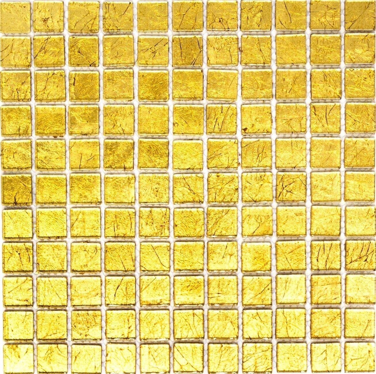 Glasmosaik Gold Fliesenspiegel Küche Wand Spritzschutz BAD 120-0742   10 Matten