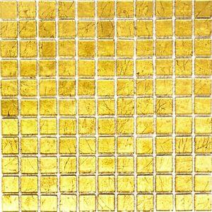 Glasmosaik-gold-Fliesenspiegel-Kueche-Wand-Spritzschutz-BAD-120-0742-10-Matten