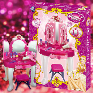 Girls-Light-Glamour-Mirror-Dressing-Table-Set-Vanity-Fun-Role-Play-Toy-Xmas-Gift