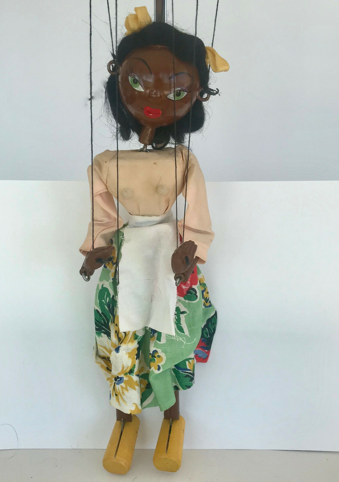 Pelham marioneta ss  Negro Girl  sin caja original de marrón, Vintag C1950