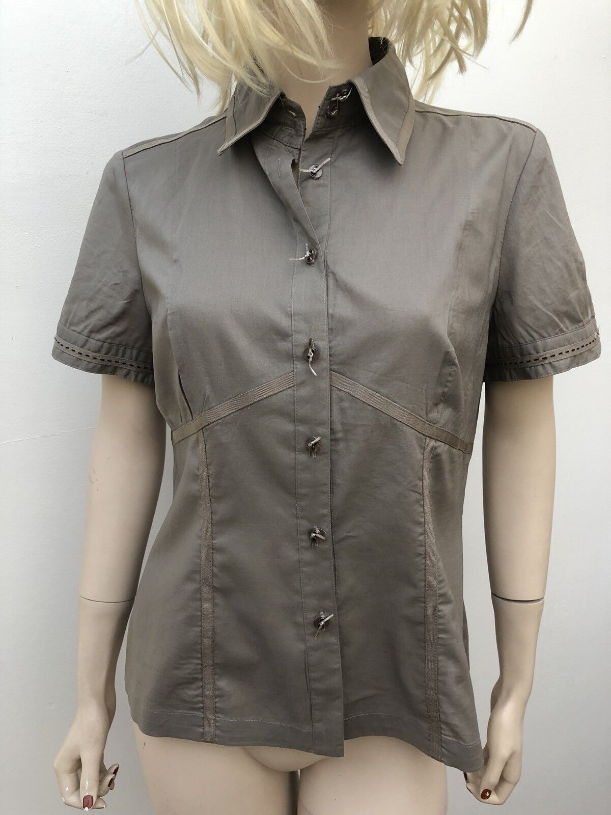 Linea Size 14 Blouse BNWT RRP  Natural Stone Beige Short Sleeve Top Shirt