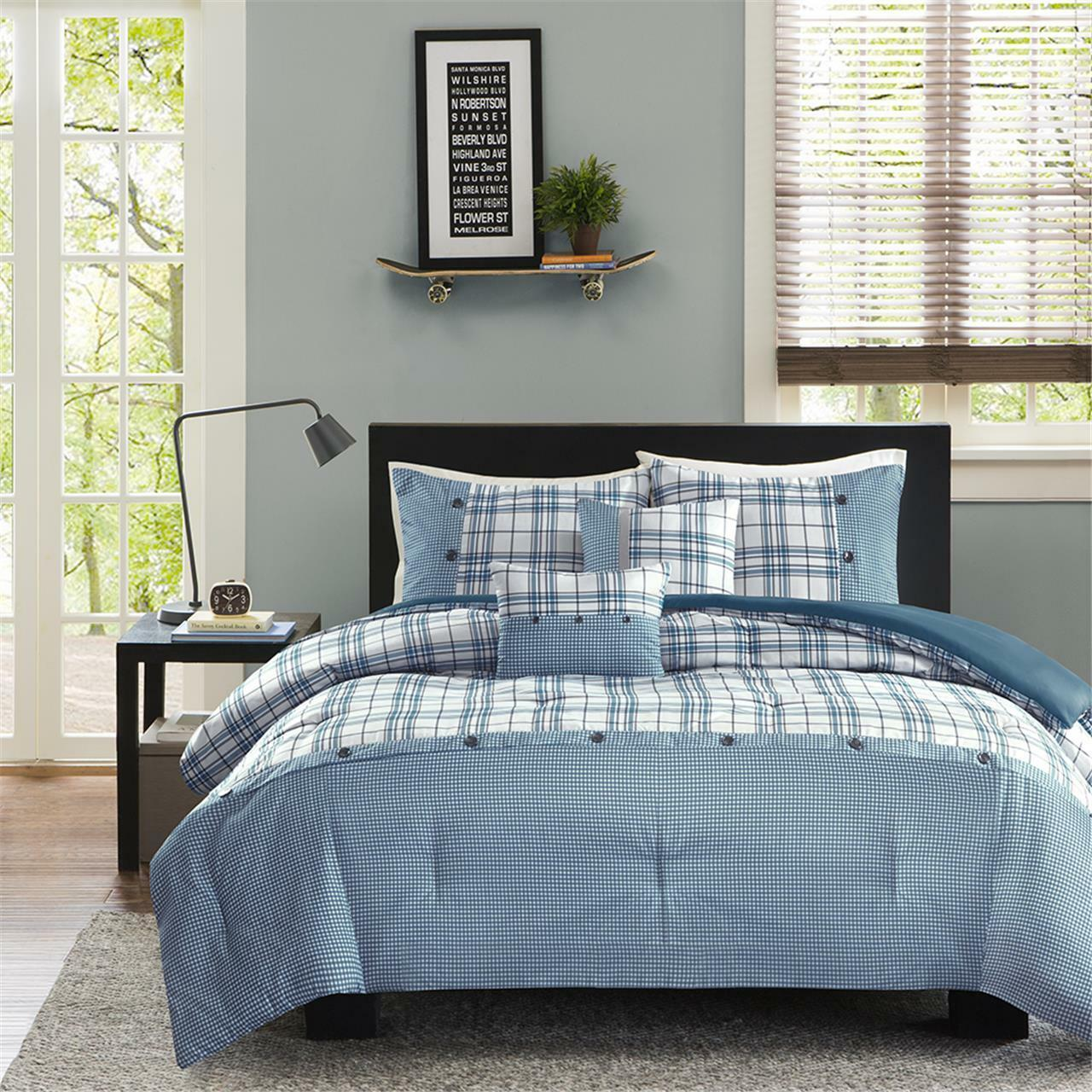 BEAUTIFUL COZY LIGHT TEAL Blau grau Weiß PLAID STRIPE COMFORTER SET & PILLOWS