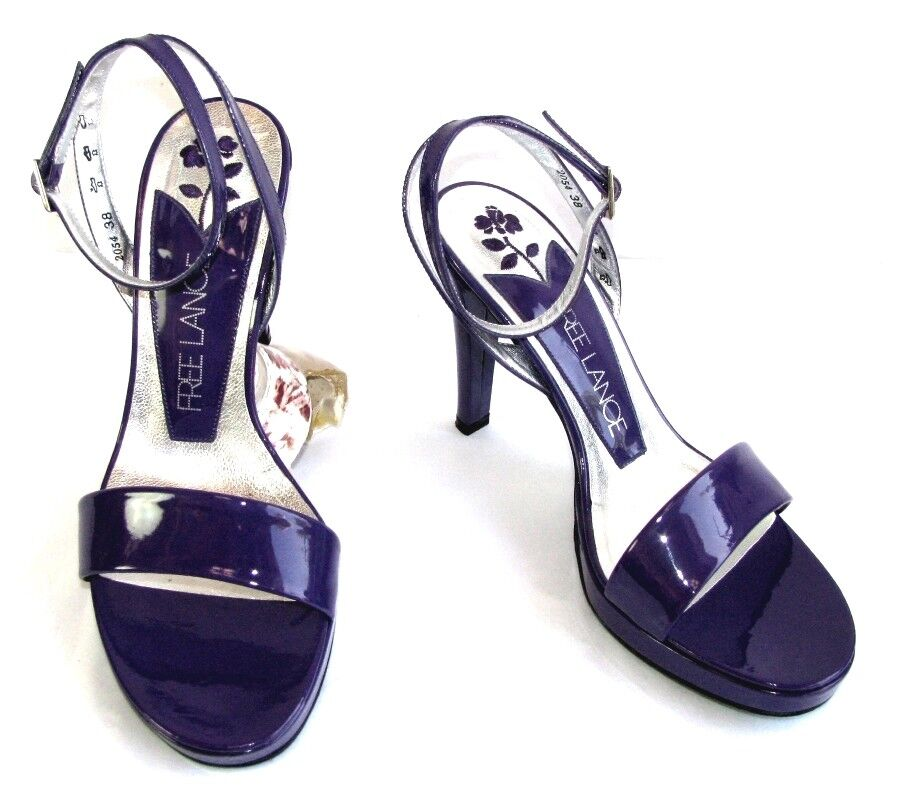 Free lance sandals 11 cm plateau purple patent leather 38 excellent condition