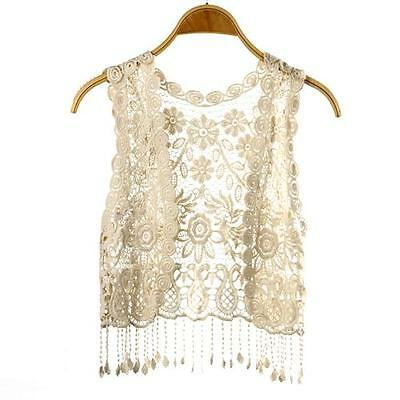 Summer Cotton Tassel Crochet Hollow Open Vest Cardigan Top Waistcoat Women Lace