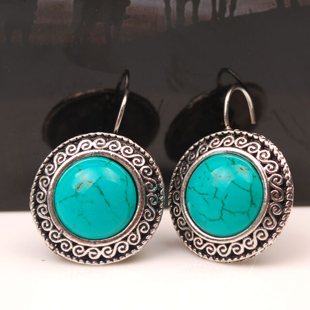 Hot Vintage Womens Ancient Silver Turquoise Stone Ear Stud Earring Charm Jewelry