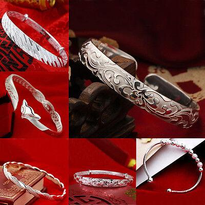 1x Wholesale Women Baby Stripe Beads Bangle Cuff Bracelet plated Silver BL